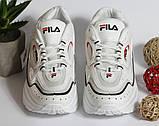 0350 Кроссовки Fila белые на высокой подошве, фото 7