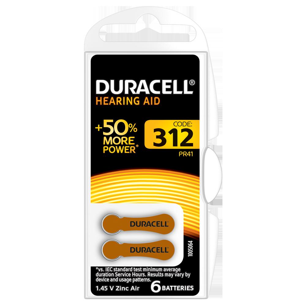 Батарейка DURACELL для слуховых аппаратов-312 уп. 6 шт.