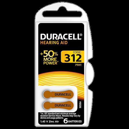 Батарейка DURACELL для слуховых аппаратов-312 уп. 6 шт., фото 2
