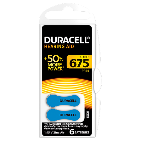 Батарейка DURACELL для слуховых аппаратов-675 уп. 6 шт., фото 2