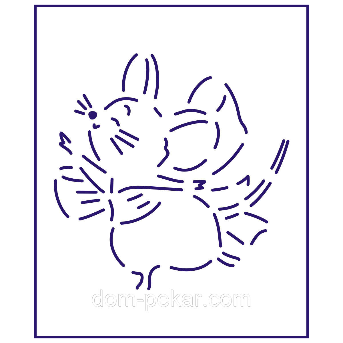 Трафарет Мышка с бантиком 10*10 см (TR-1)