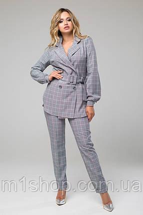 Женский брючный костюм с пиджаком в клетку (Дуэт lzn), фото 2