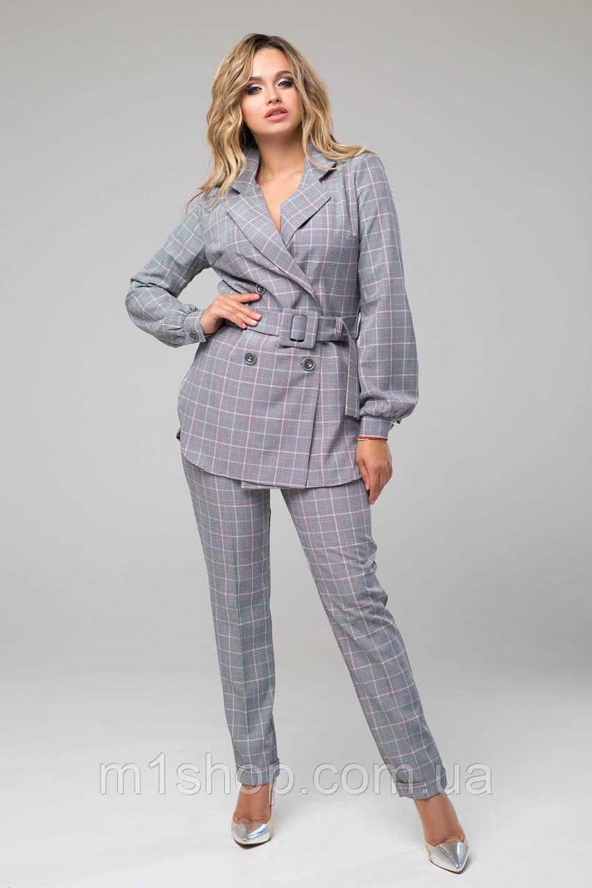 Женский брючный костюм с пиджаком в клетку (Дуэт lzn)