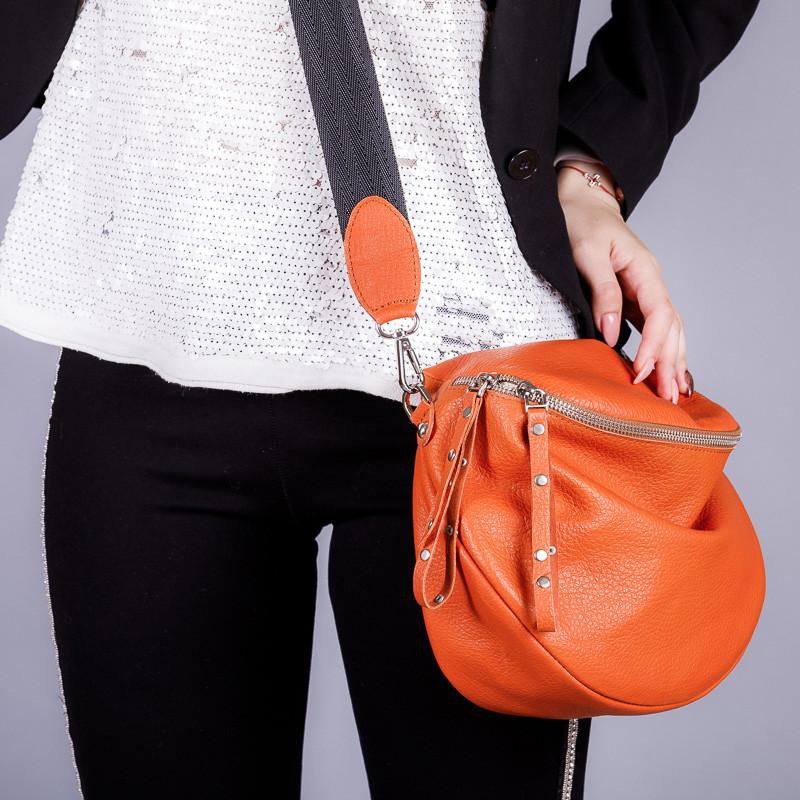 Женская яркая сумочка из натуральной кожи на широком ремне. Цвет любой под заказ