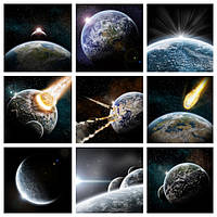 """Коллаж """"Падение метеорита"""". Печать на холсте."""