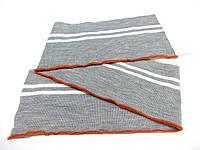 Резинка манжетная двойная с перегибом 16 см (св. серый меланж с 2 - мя белыми полосами) (арт. 2011)