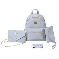 Женский рюкзак серый набор 4в1 из экокожи, фото 1