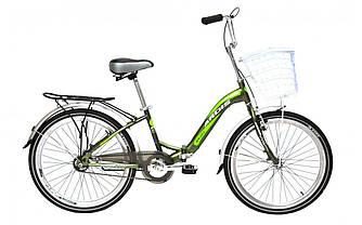"""Велосипед складной ARDIS NEW FOLD с корзиной СК 24"""" зеленый"""