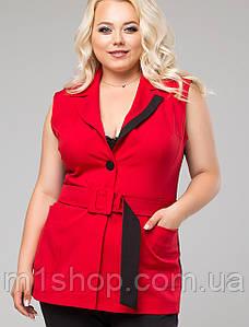 Женский деловой жилет с поясом больших размеров (Рейнирlzn) Красный.