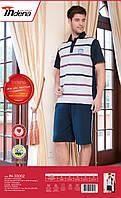Мужская Домашння одежда полосатая футболка на пуговицах, длинные шорты классика арт.33002