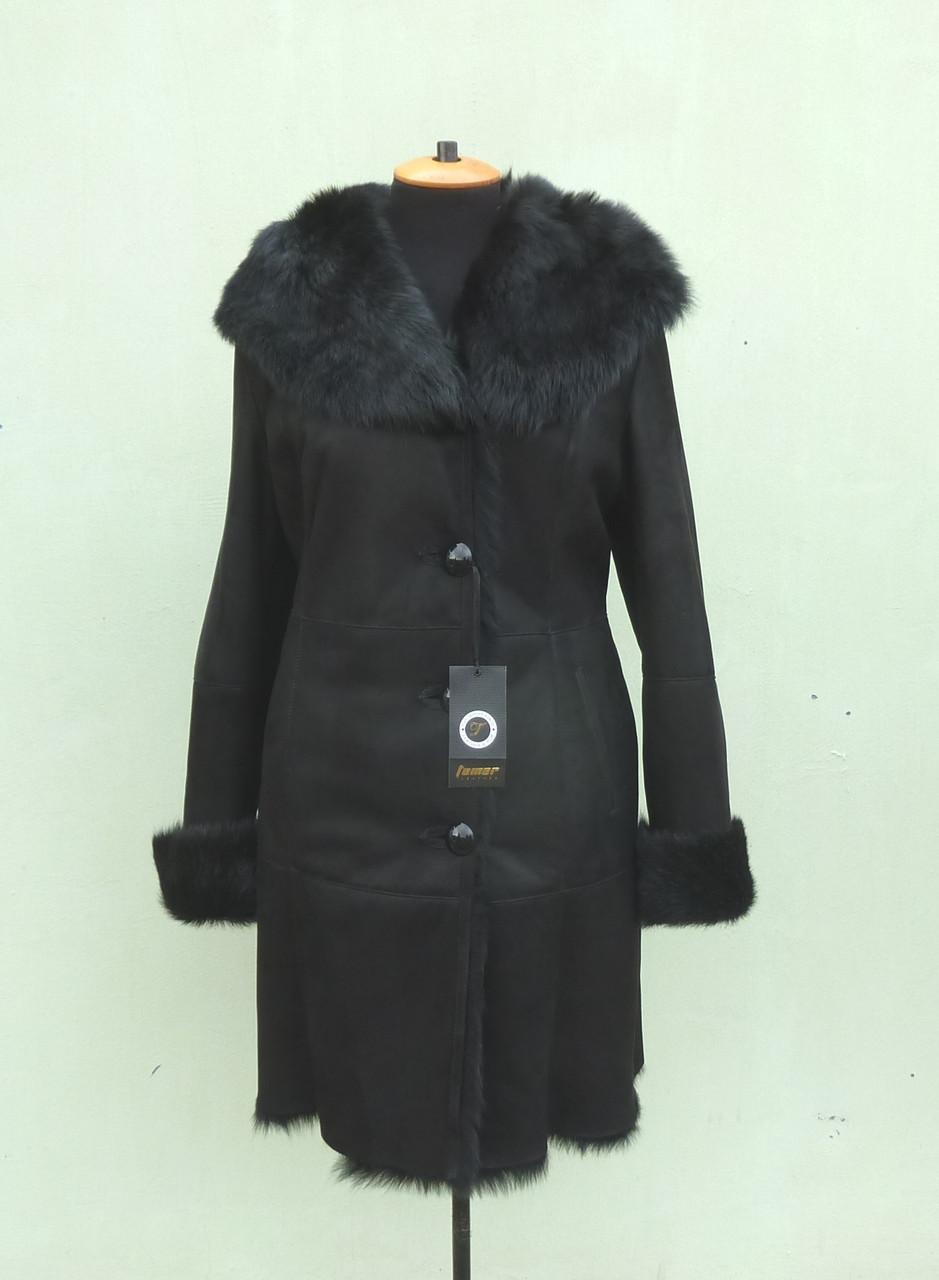 Женская  дубленка TEMER черная, Тоскано с капюшоном, размер 3XL