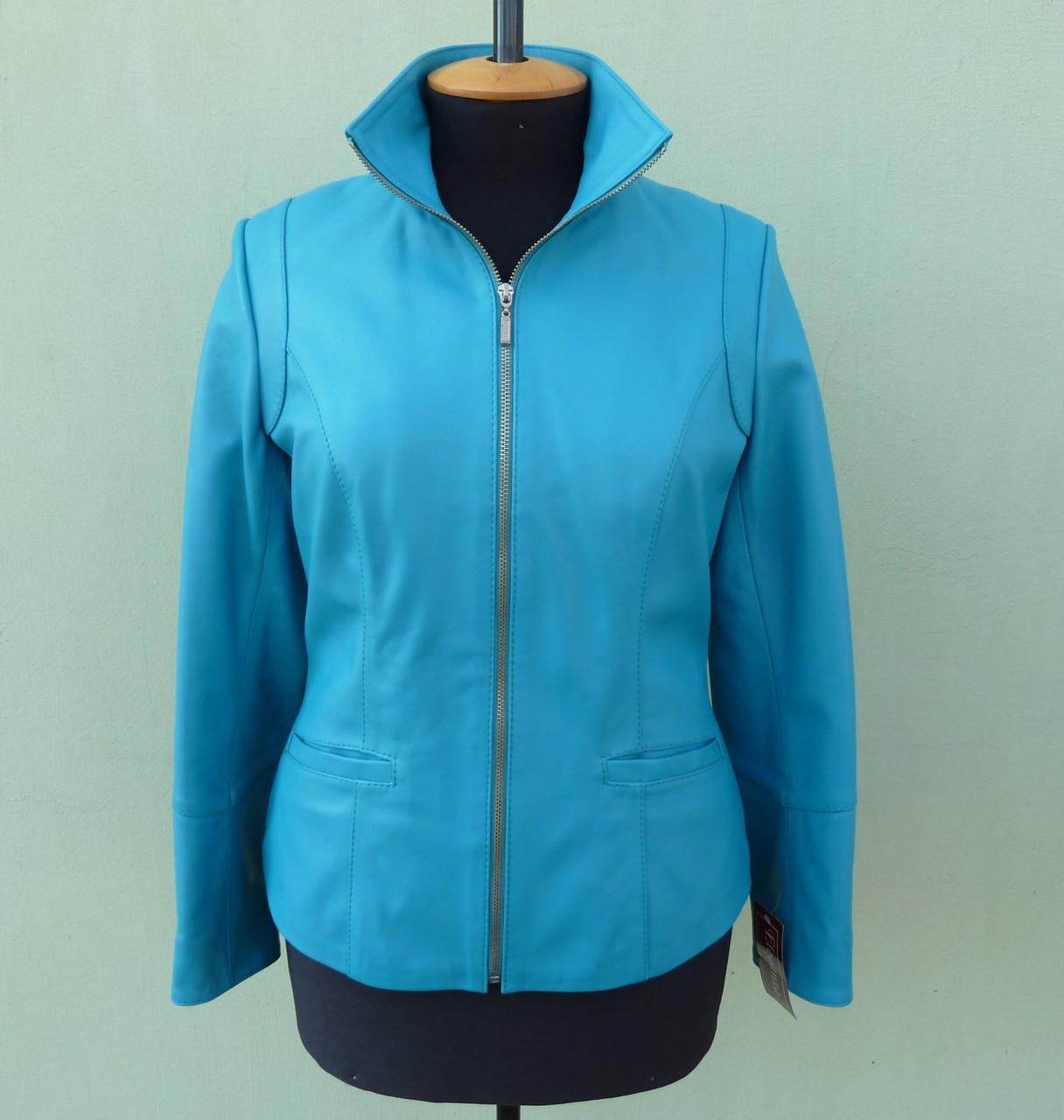 Куртка кожаная женская JAFFAs размер M, голубая