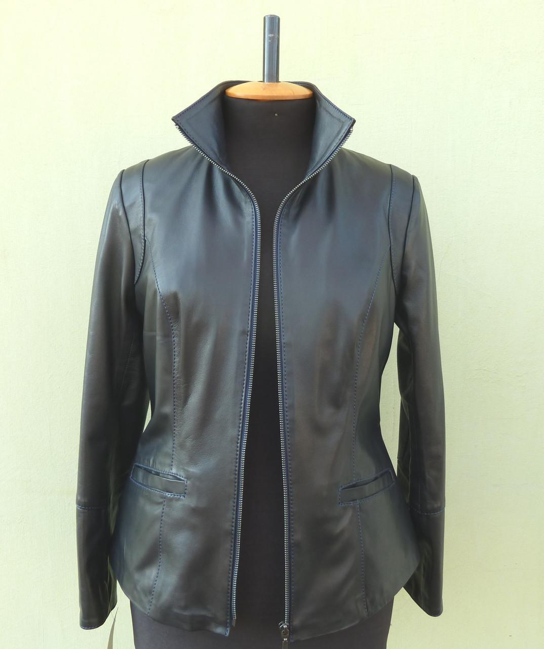 Куртка шкіряна жіноча JAFFAs розмір S, темно-синя
