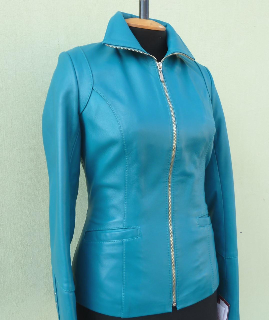 Куртка кожаная женская JAFFAs размер XS, бирюза