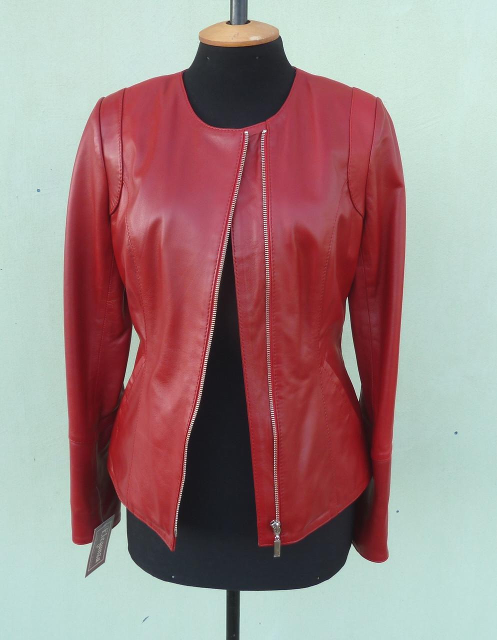 Куртка кожаная женская CHANE1 размер L, красная