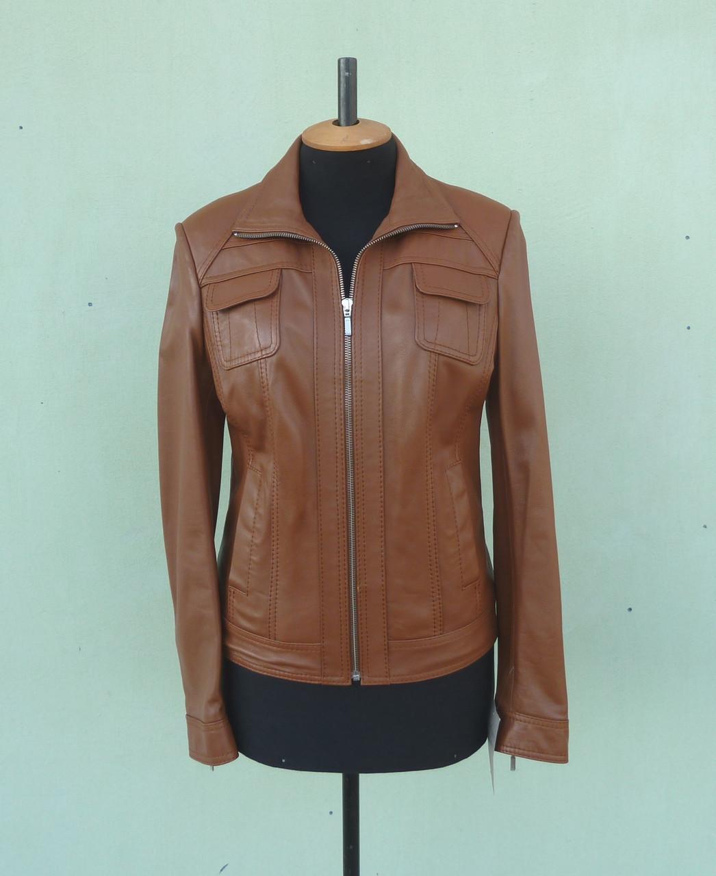 Куртка шкіряна жіноча AKURA розмір L, віскі