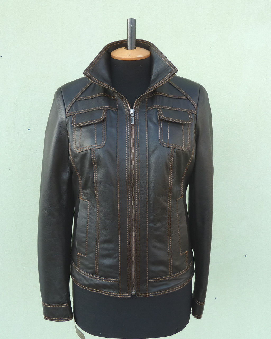 Куртка кожаная женская AKURA размер XL, коричневый