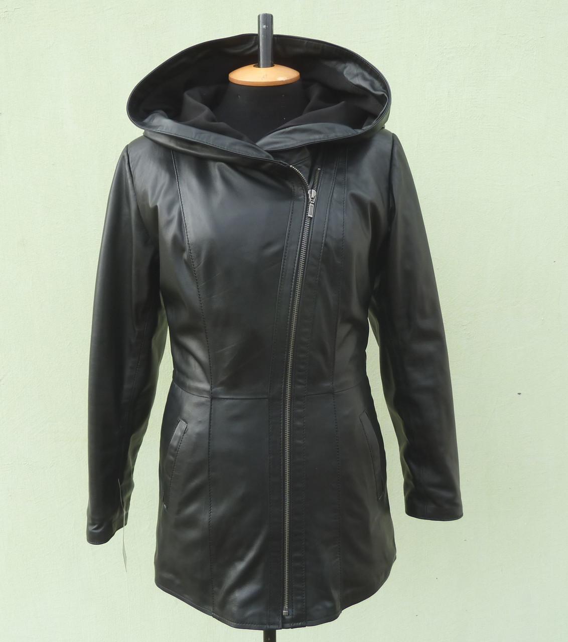 Куртка кожаная женская SEVER с капюшоном, размер M