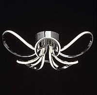 Дизайнерская потолочная светодиодная люстра хром 3100К-4000К-6000К диммер