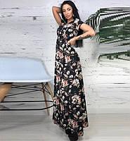 Платье в пол на запах с цветочным принтом, фото 1