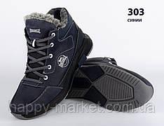 Шкіряні чоловічі зимові кросівки черевики сині Lonsdale, шкіряні чоловічі чоботи, спортивні черевики