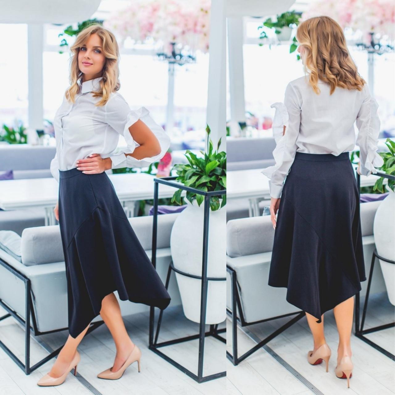 Черная ассиметричная юбка в офисном стиле с завышенной талией