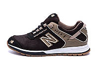 Мужские кожаные кроссовки NB Clasic Brown (реплика), фото 1