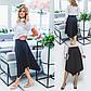 Черная ассиметричная юбка в офисном стиле с завышенной талией, фото 4