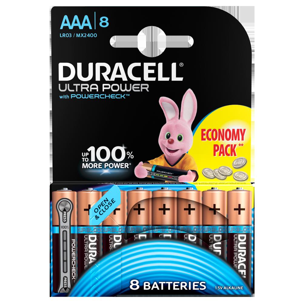 Батарейка DURACELL AAA (LR03) KPD 08*10 Ultra уп. 1x8 шт.