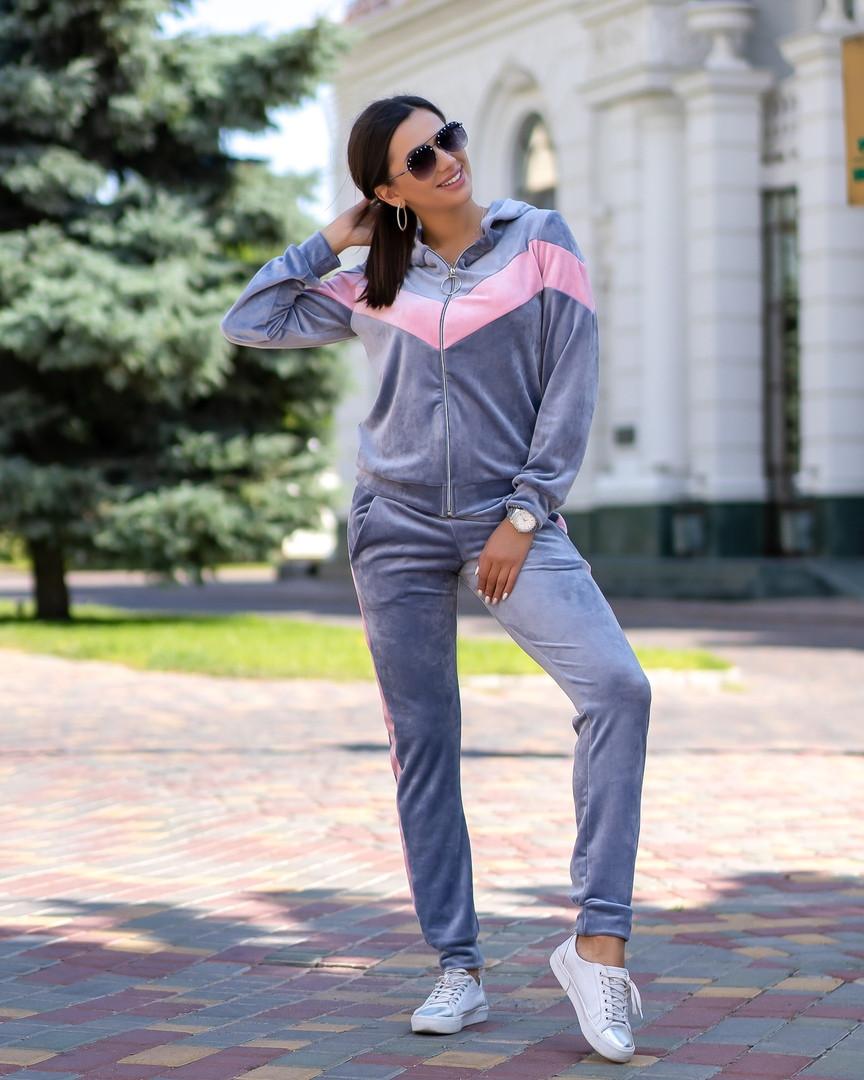 Женский велюровый спортивный костюм S M L