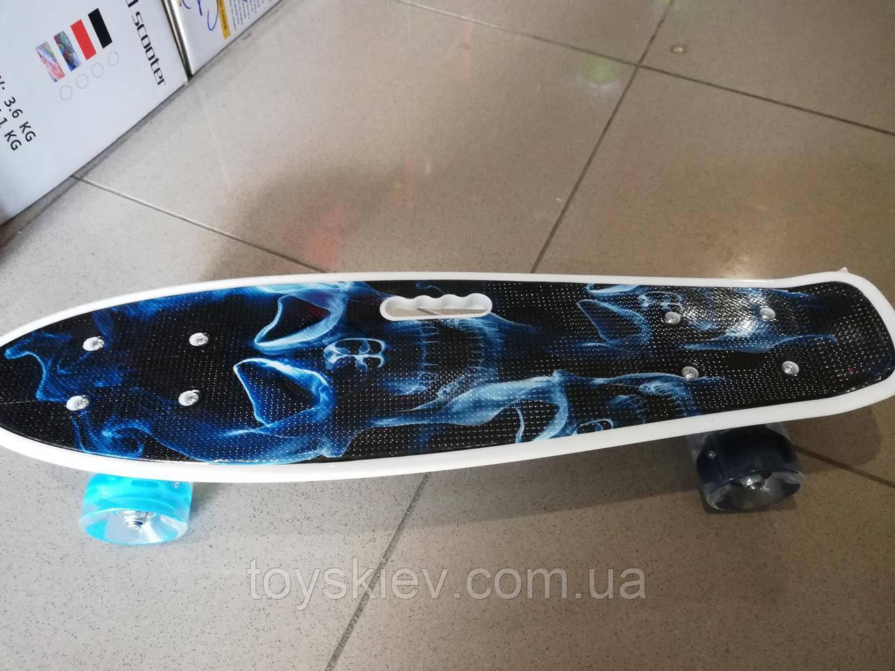 Скейт Пенни борд (Penny board) пениборд с рисунком, ручкой светящиеся колёса 32035-13