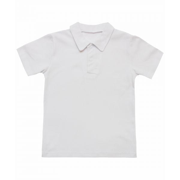 Рубашка поло для мальчика белая оптом