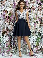 Классическое платье из габардина с гипюровой вставкой