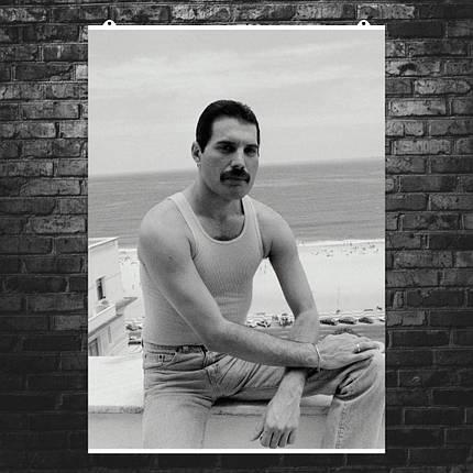 """Постер """"Фредди Меркьюри, ч\б ретрофото"""". Freddy Mercury, Queen, Квин. Размер 60x42см (A2). Глянцевая бумага, фото 2"""