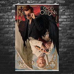 """Постер """"Благие знамения, тёмная сторона"""". Good Omens, Пратчетт. Размер 60x39см (A2). Глянцевая бумага"""