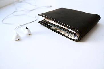 Кожаный кошелек с RFID защитой (Черный)