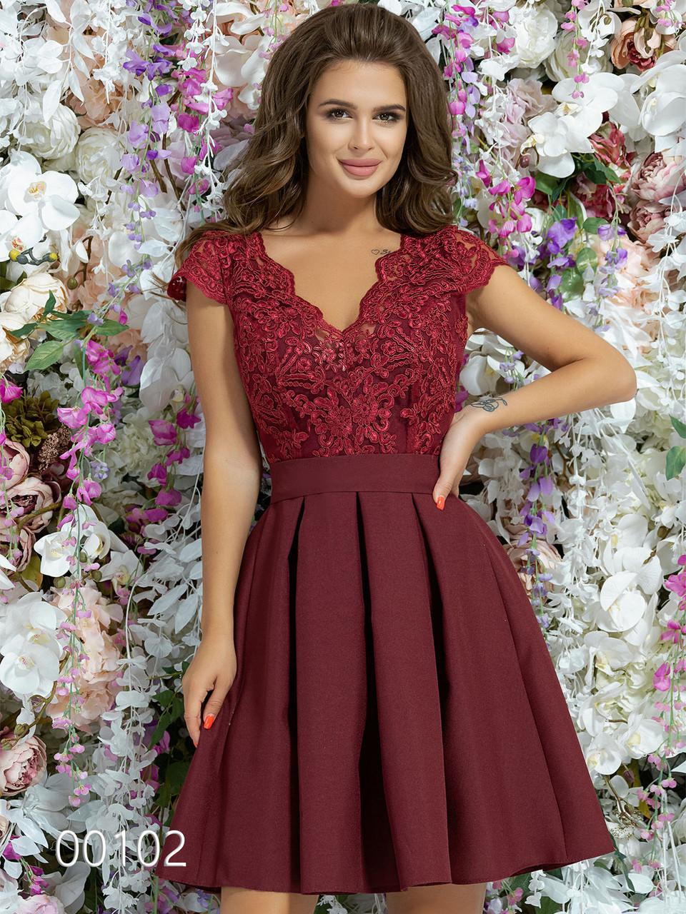 Платье с вставкой гипюра из габардина с пышной юбкой, 00102 (Бордовый), Размер 46 (L)