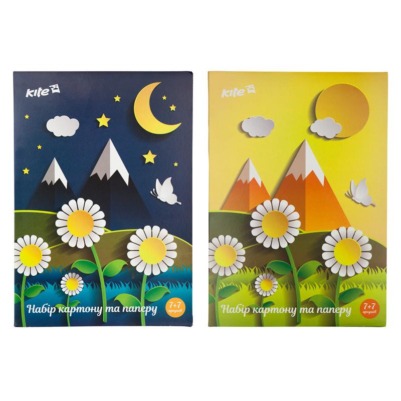 Набор бумаги и картона a4 (7 + 7), папка, kite