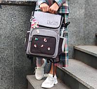 Рюкзак школьный для девочки серый JuSi School