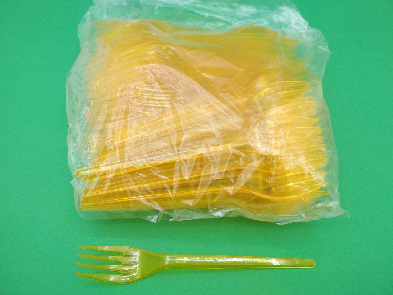 Одноразовые вилки желтые премиум, Юнита, 100 шт\пач
