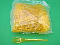 Одноразовые вилки желтые премиум, Юнита, 100 шт\пач, фото 1