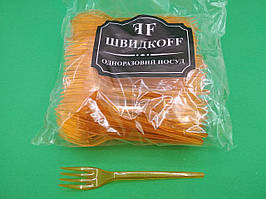 Одноразовые вилки оранжевые премиум, Юнита, 100 шт\пач