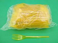 Вилка одноразовая желтая, Юнита, 100 шт\пач