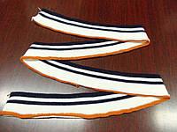 Резинка манжетная одинарная 4 см (молоко с 2 - мя  темно - синими полосами) (арт. 2053)