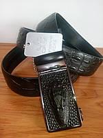 Кожаный ремень черный крокодил, автомат