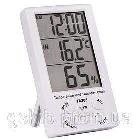 Термогигрометр TA308 3 в 1 термометр, влажность, часы