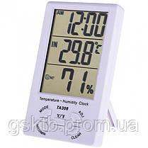 Термогигрометр TA308 3 в 1 термометр, влажность, часы, фото 2