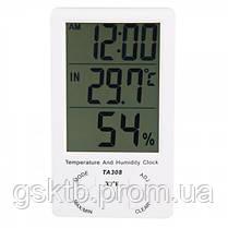 Термогигрометр TA308 3 в 1 термометр, влажность, часы, фото 3