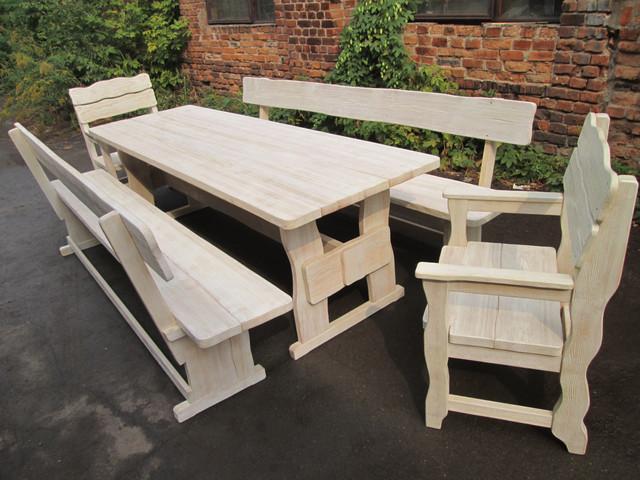 Мебель деревянная из массива дерева нашего производства для комплектации беседки