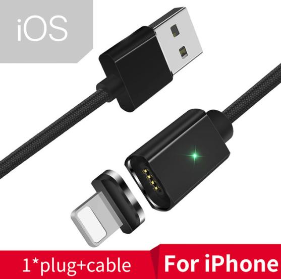 Essager магнитный кабель usb Lightning быстрая зарядка 3А для iOS Apple iPhone Цвет чёрный